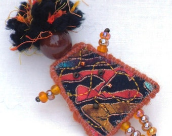 Fiber Brooch, Black Orange Ethnic Girlfriend