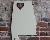 Custom Wooden State Guestbook - 2 ft Alabama in Distressed Ivory- any state/country available in many colors