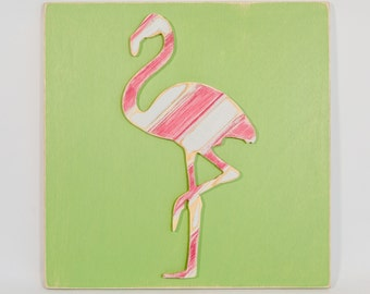Flamingo Multi-Colored Wall Art, Wooden Distressed Antique Bead Board