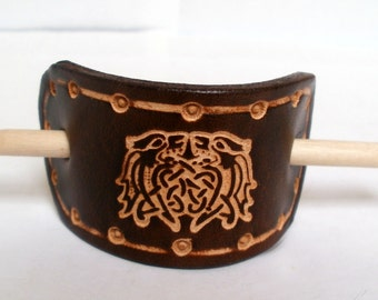 Leather hair barrette, hair slide, stick, size small, brown,  embossed Celtic lions