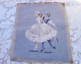 Vintage Ballet Couple Needlepoint Piece