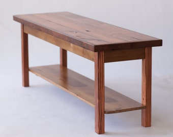 Skinny Reclaimed Wood Coffee Table with Shelf