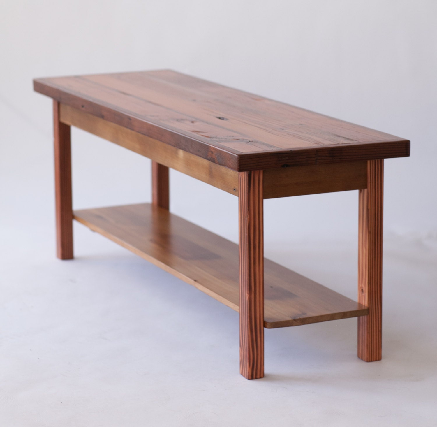 skinny reclaimed wood coffee table with shelf. Black Bedroom Furniture Sets. Home Design Ideas