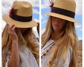 Cute Summer Straw Hat Vintage Grass Woven Fedora River Bowler Feathers Homburg Panama Sun Shade Medium