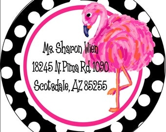 Pink Flamingo Return Address Labels Stickers, Return Address Labels, Return Address Sticker, Family Return Address Sticker