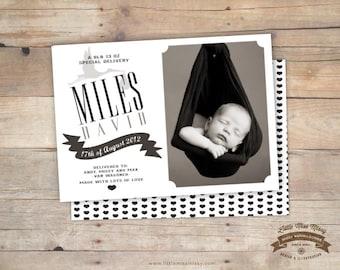 Black & White, Baby Announcement, Baby Shower Invite, Stork, 5x7, DIY Printable