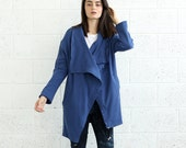 Sale 70 Off French Terry coat, Blue.
