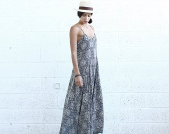 Valentines day Summer Sale Flare Maxi dress, Blue White print.
