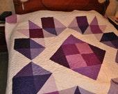 Large Queen size plum quilt