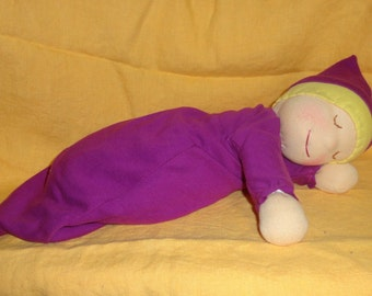 """Kit to make a Waldorf 2 lb 12"""" Heavy Baby or bunting doll PDF instructions for doll, and PDF pattern and instructions for cap and gown"""
