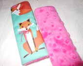 Fabulous Foxes In Aqua Infant/Toddler Reversible Car Seat Strap (your choice minky)