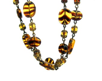 Czech Glass Bead Necklace. Tortoiseshell, Tiger Stripe. Amber Brown Oval Glass. Gilt Filigree. 36 inches Long. Vintage 1950s 60s Jewelry.