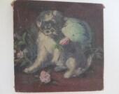 Vintage Dog Oil Painting