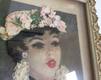 Vintage Shadow Box Young Lady