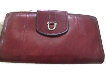 Glove cowhide cordovan reddish brown vintage checkbook wallet - perfect
