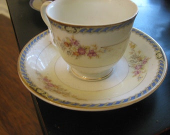Occupied Japan Cottage YAMAKA navy fancy edge and country flowers demitasse cup saucer