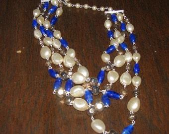 COBALT  swirl glass 4 strand venetian  bead cascading bib necklace from 1950s - JAPAN signed