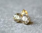 25% OFF SUMMER SALE Bronze Metallic Gold Earrings Swarovski Crystal Confetti Leverback Drop Square Stud Earrings Rounded Square Mashugana