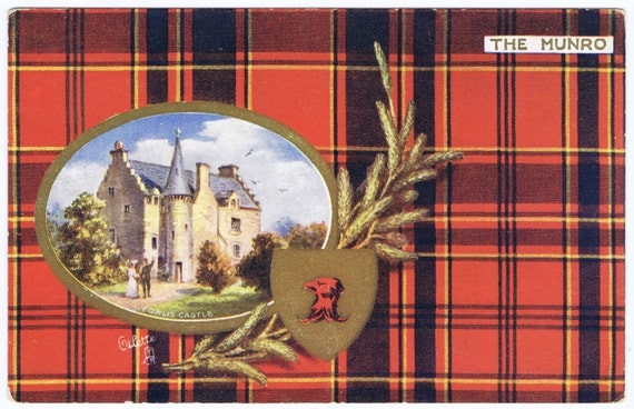 Antique Vintage Scottish Clan Munro Tartan Red Plaid Postcard Scotland Textile Costume Outlander
