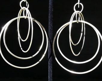 Multi-Hoop Fine Silver Dangle Earrings