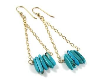 Turquoise Bar Earrings, Long Gold Chain Dangle, Gemstone Jewelry, December Birthday Gift Idea, Fun Elegant Holiday Fashion, Boho Chic