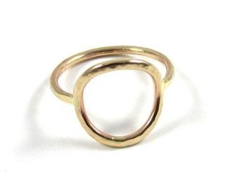 Open Circle Ring, Gold Hammered, Everlasting Unity Infinity Universal Symbol, Minimalist, Handmade Maui Jewelry, Christmas Gift Idea, Boho