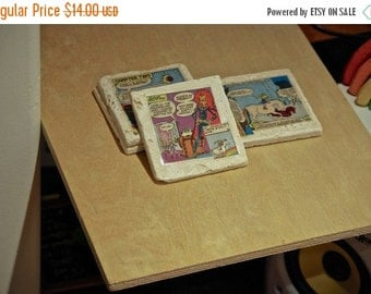 HALLOWEEN SALE Rainbow Brite Coasters Set of 4 recycled vintage comics eighties cartoon 80's tv show comics geeky gift home decor furniture
