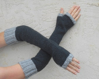 Arm Warmers/Fingerless Gloves/Mitts in Dark Charcoal Gray