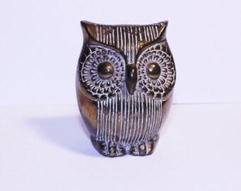 Vintage Brass Owl, Cute Solid Brass Bird, Brass Owl Decor, Owl Paperweight
