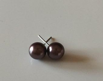 8mm dark brown Pearl stud earrings , bridesmaid jewelry