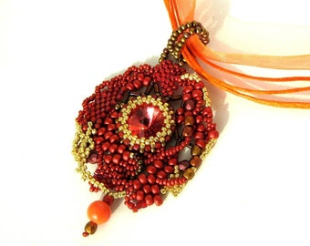 Beaded pendant necklace, Red Orange brown pendant, Handmade gifts for her, Beadwork, Beaded jewelry