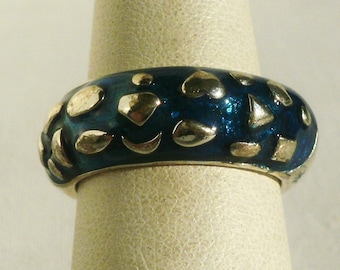 Sterling Silver Blue Enameled Ring-Size 7
