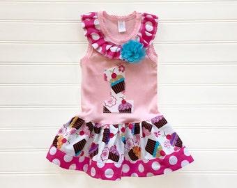 Cupcake Dress Birthday Dress Number Dress