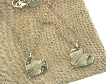 Doggie nose print heart charm necklace, custom dog print, dog or puppy nose print keepsake in pure, .999 fine silver
