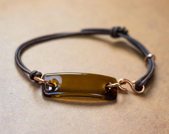 NEW Wine Bottle Bracelet, Copper Jewelry, Recycled Bottle Jewelry, Fused Glass, Eco Friendly Gift,  Dessin Creations