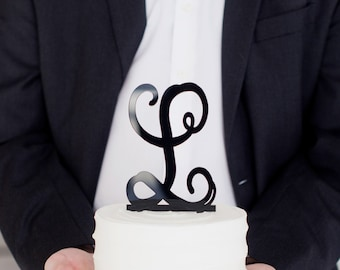 Monogram Cake Topper- wedding cake topper, birthday cake, dessert topper, classic
