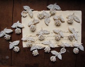 vintage beaded applique motifs - lot of 18 white flower and leaves sew on embellishments - 1960s