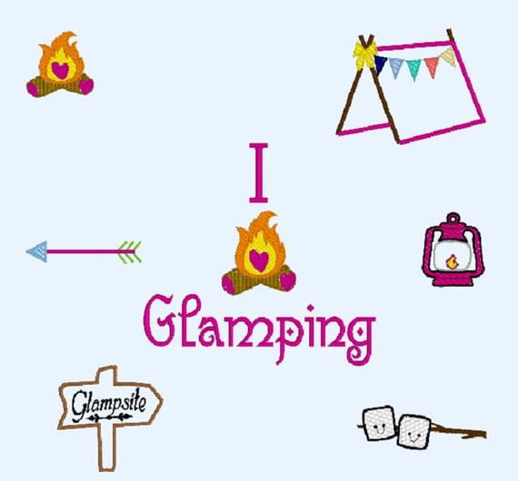 Glamping Embroidery Design
