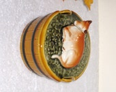 SECLA Portugal Cow On Barrel Butter Dish / Portuguese Majolica Style Glazed Pottery / Country Kitchen Decor