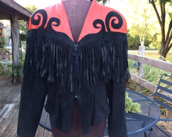 Climax Karen Okada vintage women junior 13/14 red leather and black suede leather jacket with fringes