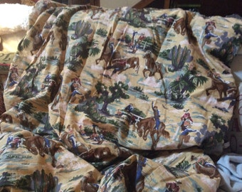 vintage barkcloth twin-size duvet cover--62 x 83--cowboys and horses--tan background with burgundy back--handmade
