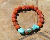 Spiritual Bracelet, Yoga Bracelet, Rudraksha Bracelet, Ankle Bracelet, Turquoise Bracelet, OM Bracelet,  Chakra Bracelet