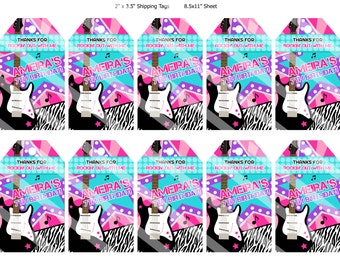 Girl ROCK STAR favour tags - YOU print