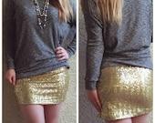 Shiny Gold Mini Sequin Skirt - Stretchy, beautiful, fun mini skirt (Small, Medium, Large, XLarge) runs small