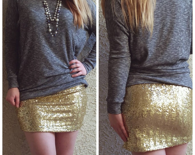 Shiny Gold Mini Sequin Skirt - Stretchy, beautiful, fun mini skirt (Small, Medium, Large, XLarge) runs small. Ships asap!