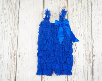 Royal blue Romper -Royal Blue Lace Romper -Girls Romper -Baby Romper -Ruffle Romper -petti lace romper -blue romper- electric blue romper