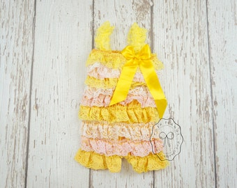 petti lace rompers- rompers- yellow and pink romper- lace romper- baby romper- girls romper- toddler romper-