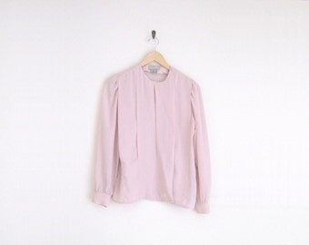 Pastel Purple Lavender Pink Blouse. Button Down Pleated Blouse. Vintage Long Sleeve Womens Shirt. Minimalist Secretarial Blouse. 80s Shirt.