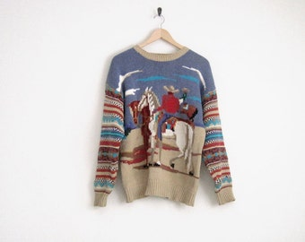 Vintage 80s Sweater | Cowboy Sweater | Tribal Sweater | Western Top | Knitted | Colorful Knit Sweater | Vintage Kenny Rogers | Horse Sweater