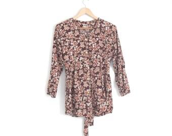 Vintage 90s Floral Dress. Floral Babydoll Dress. Button Dress with Back Tie. Floral Print Dress. 90s Grunge Dress. Mini Dress.